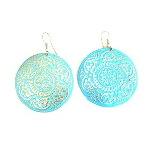 Jewelry - 3/$20 Turquoise aqua blue plate earrings